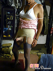 These crossdressers love to show off their hard cocks and sexy suspenders