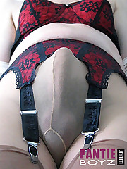 Nylons and panties are a great combination on these horny fuckers