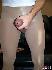 Horny pantie lover shows off his hard cock through his pantyhose