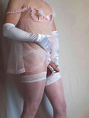 Big cock poking out of white lingerie