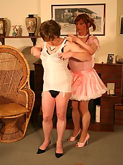 Lucimay and her slutty crossdresser friend play dress up